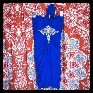 Cobalt Blue prom dress with rhinestones